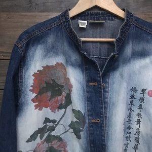 Chico's Japanese Poppy Jean Jacket XL